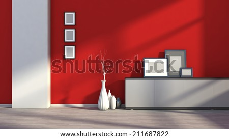 red empty interior with white vases and blank picture - stock photo