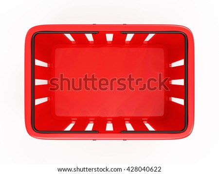 Red Empty Shopping Basket isolated on white background. 3D Rendering. Top View - stock photo