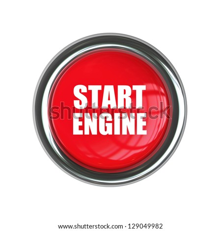 red engine start button isolated on white background. High resolution 3d render image - stock photo