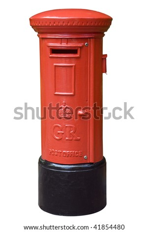 Red English post box isolated on white - stock photo