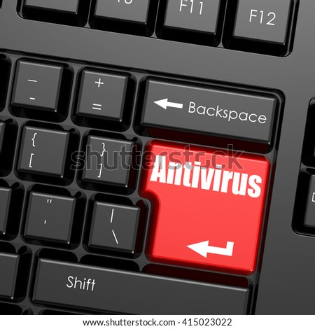 Red enter button on computer keyboard, Antivirus word. Business concept, 3D rendering - stock photo