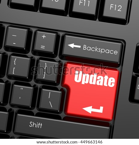 Red enter button on computer keyboard, update word. Business concept, 3d rendering - stock photo
