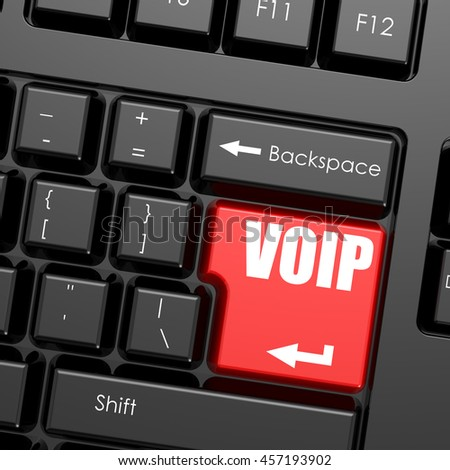 Red enter button on computer keyboard, VOIP word. Business concept, 3d rendering - stock photo