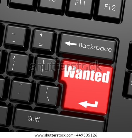 Red enter button on computer keyboard, Wanted word. Business concept, 3D rendering - stock photo