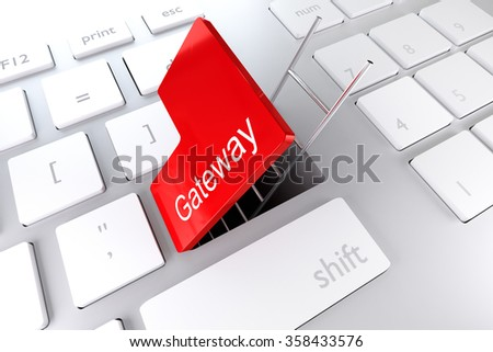 red enter key open with ladder in underpass gateway illustration - stock photo