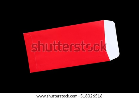 Red envelope isolated on black background