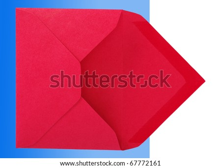 Red envelope isolated on the blue and white surface. - stock photo
