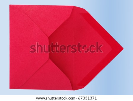 Red envelope isolated on the blue surface. - stock photo