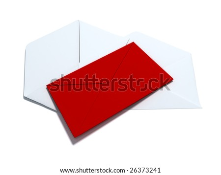 red envelope laying on two white envelopes