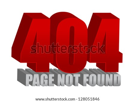 Red 404 error illustration design over a white background - stock photo