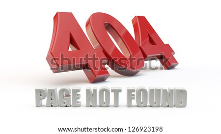 Red 404 error with white background and shadow