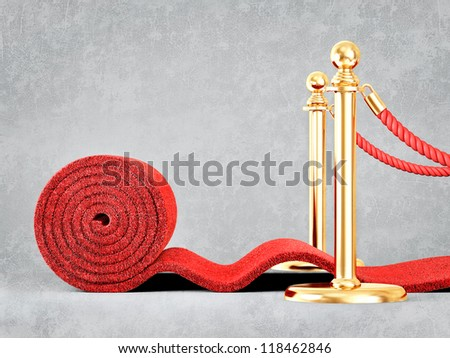 red event carpet isolated on a grey background - stock photo