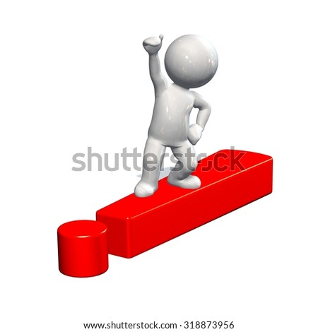 red exclamation mark and 3d people  - stock photo