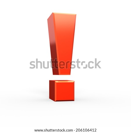 Red exclamation mark , isolated on white - stock photo