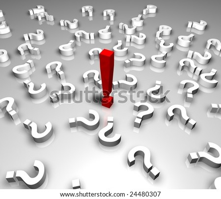 Red exclamation mark, solution concept. 3D render - stock photo