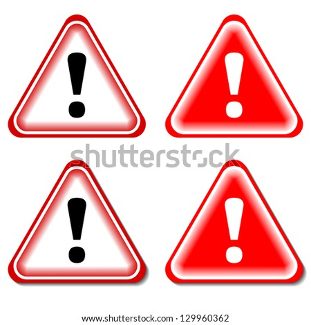 Red Exclamation Sign, Danger signs. Isolated, Raster Version - stock photo