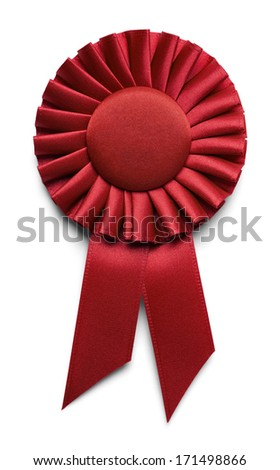 Red Fabric Ribbon With Copy Space Isolated on White Background. - stock photo