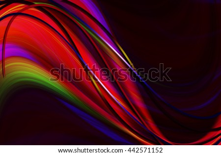 Red falling wave coated shining colored curved stripes on  black background  - stock photo