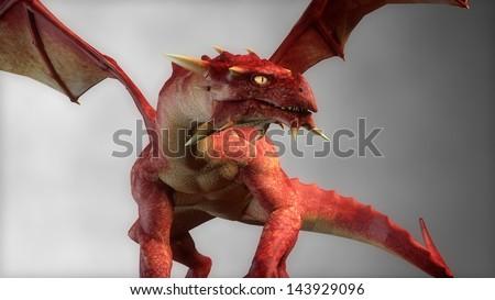 red fantasy dragon in fog - stock photo