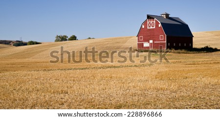 Red Farm Barn Cut Straw Just Harvested - stock photo