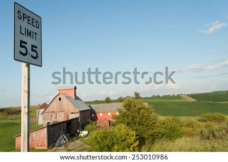 Red farm in historic Amana colonies in Iowa - stock photo