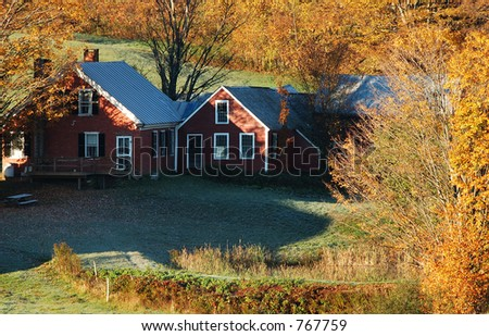 Red Farmhouse - stock photo