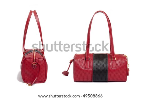 red fashion bag on white background