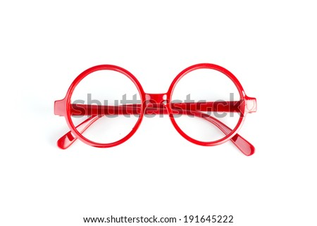 red fashion glasses isolated on white - stock photo