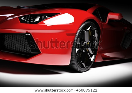 Red fast sports car in spotlight, black background. Shiny, new, luxurious. 3D rendering