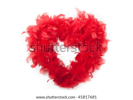 red feather  hearth on white - stock photo