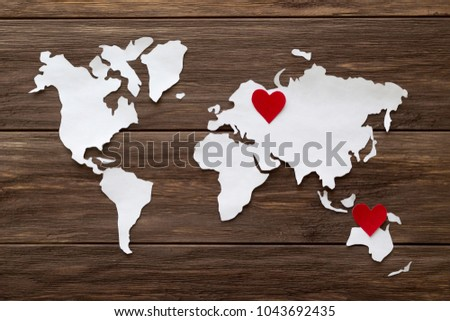 Red felt hearts world map cutted stock photo 1043692435 shutterstock gumiabroncs Images