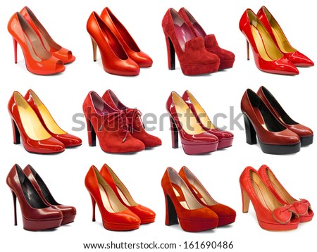 Red female footwear collection on white background - stock photo