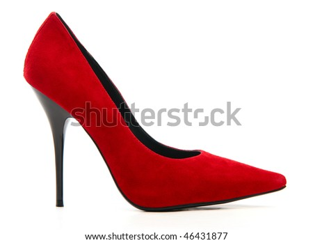 Red female shoe on a high heel on white background - stock photo