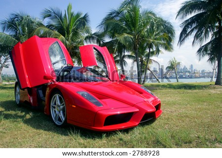 Red Ferrari Enzo in Singapore - stock photo