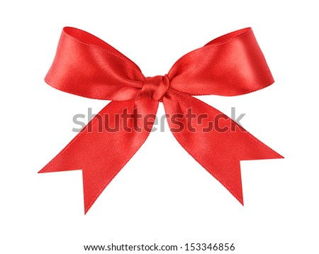 red festive tied bow made from ribbon, isolated on white
