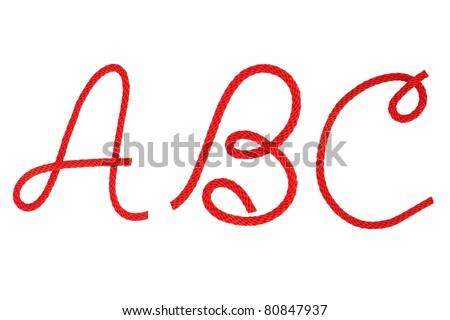 Red fiber rope bent in the form of letter A,B,C - stock photo