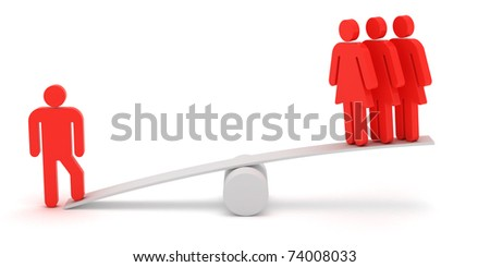 Red figures of man and woman on the scales - stock photo