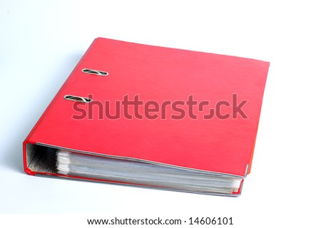 red file folder, ring binder, white background - stock photo