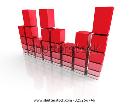 Red Finance Business Bar Chart Graph. 3d Render Illustration - stock photo