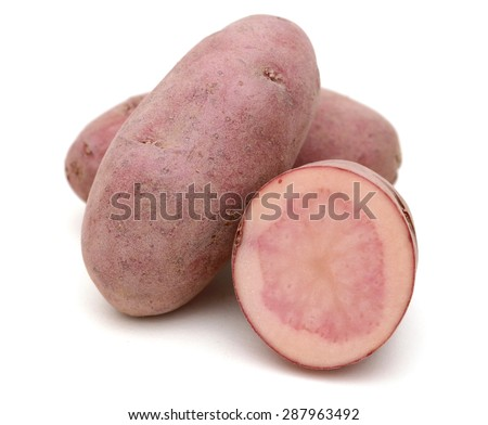red fingerling potatoes on white background  - stock photo