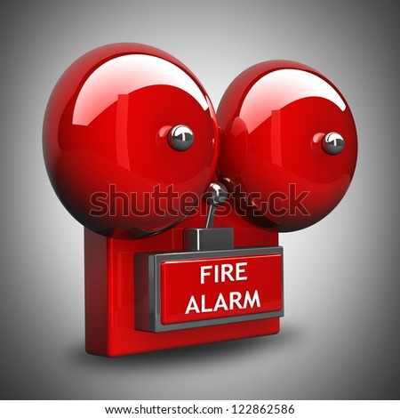 Red fire alarm bell. High resolution. 3D image - stock photo