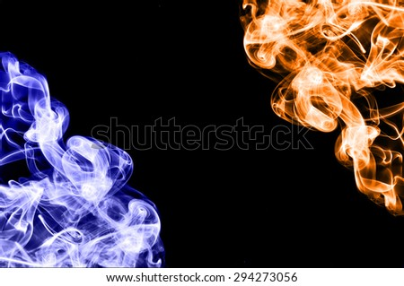 red fire and blue fire background,fire and ice  - stock photo