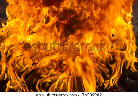Red Fire and Flames Background - stock photo