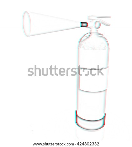 Red fire extinguisher on a white background. Pencil drawing. 3D illustration. Anaglyph. View with red/cyan glasses to see in 3D. - stock photo