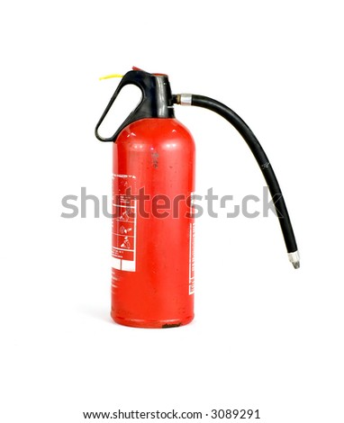red fire extinguisher on white background