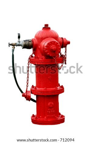 Red Fire hydrant isolated on a white background - stock photo