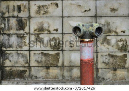 red fire hydrant near a cement wall
