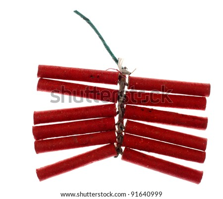 Red firecrackers isolated against background - stock photo