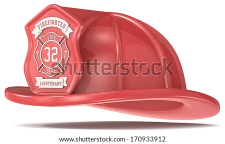 Red Firefighter Helmet. Firefighter Helmet. Classic Red with badge. Isolated. - stock photo
