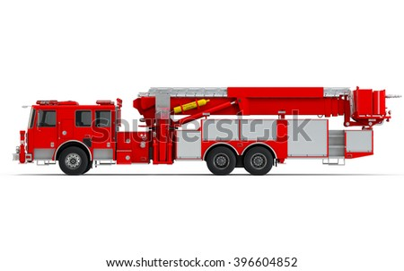 Red Firetruck left profile view isolated on a white background. 3D Rendering, 3D Illustration - stock photo